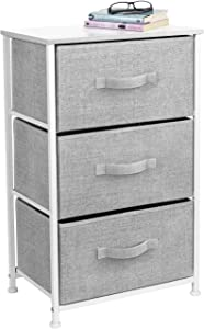 Sorbus Nightstand with 3 Drawers - Bedside Furniture & Accent End Table Storage Tower for Home, Bedroom Accessories, Office, College Dorm, Steel Frame, Wood Top, Easy Pull Fabric Bins (White/Gray)