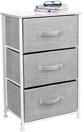 Sorbus Nightstand with 3 Drawers – Bedside Furniture Accent End Table Storage Tower for Home, Bedroom Accessories, Office, College Dorm, Steel Frame, Wood Top, Easy Pull Fabric Bins White Gray