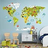 R00351 Adesivo murale per bambini Wall Art - Mappamondo didattico - Misure 100x120 cm - Decorazione parete, adesivi per muro, carta da parati