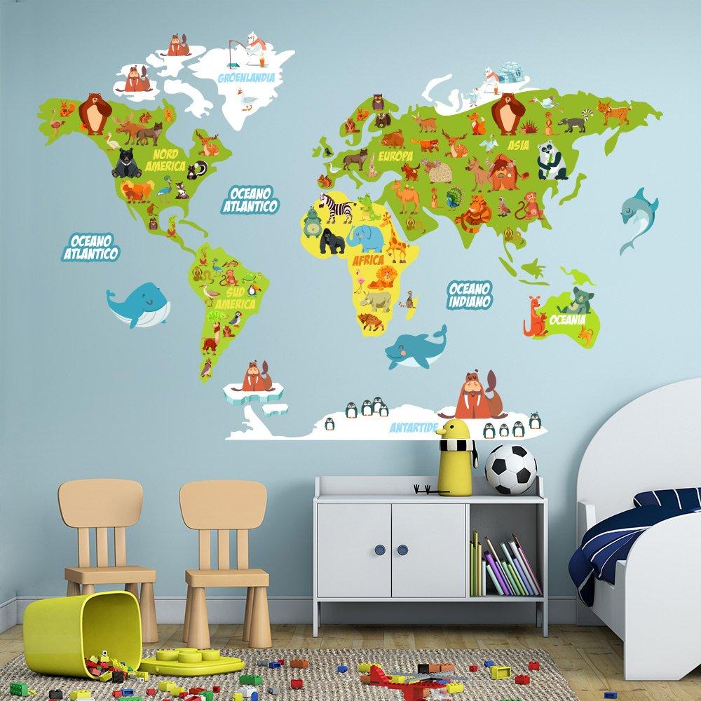 R00351 adesivo murale per bambini wall art mappamondo didattico misure 100x120 cm decorazione