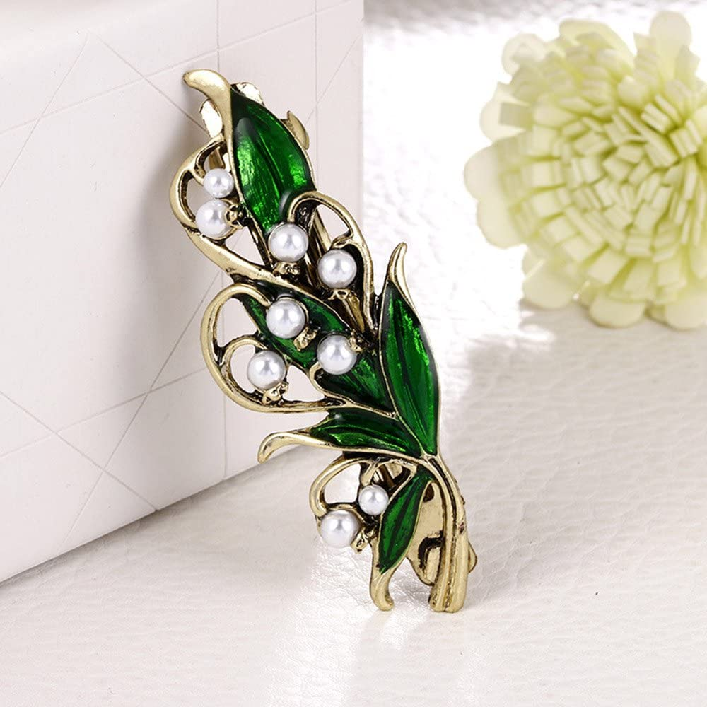 Accesorios Nupciales Mainbead Collares de Pelo cristalinos de la joyer/ía de la Vendimia Barrette del Pelo del Lirio del Valle Barrette Wedding Barrette de la Perla Accesorios del Pelo