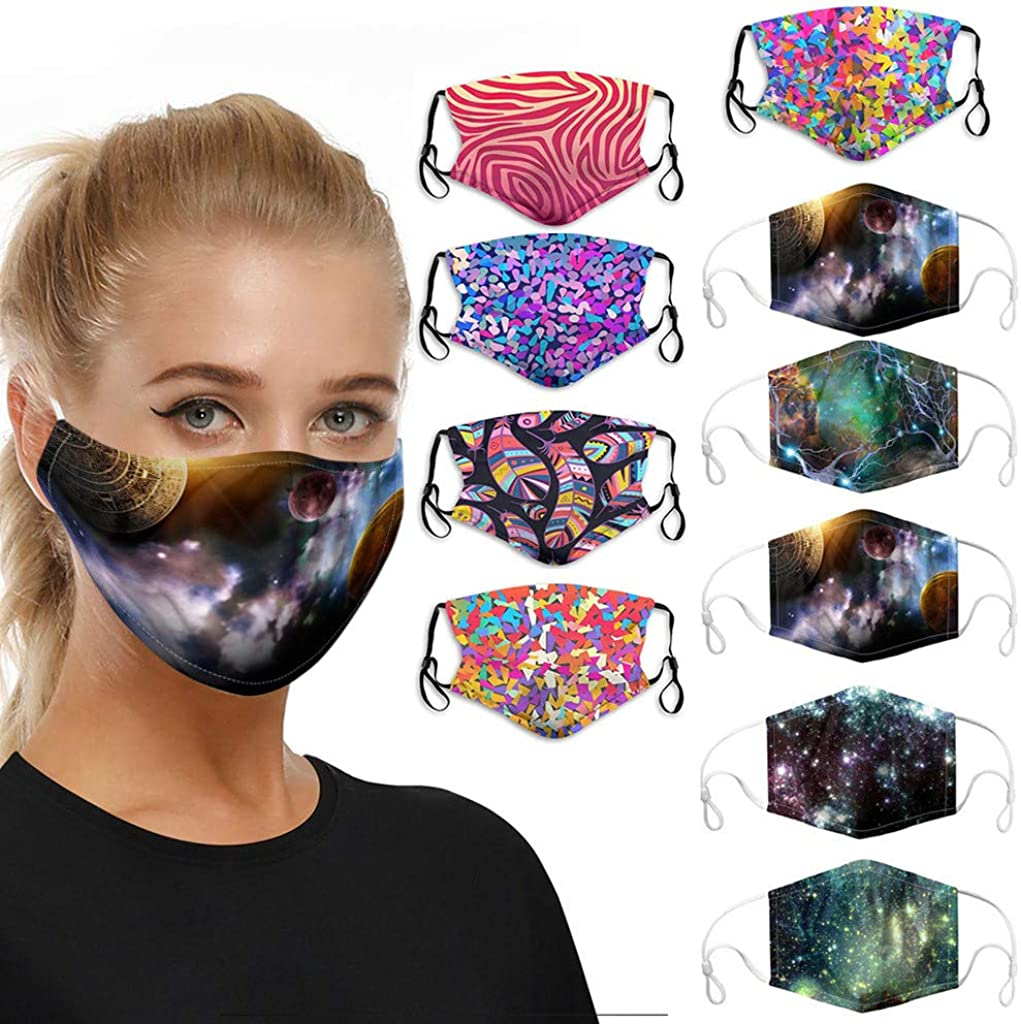 10PCS Womens Bandana Face Dust Reusable Washable Cloth Protection Fashion Fabric Breathable Dustproof Balaclava Scarf