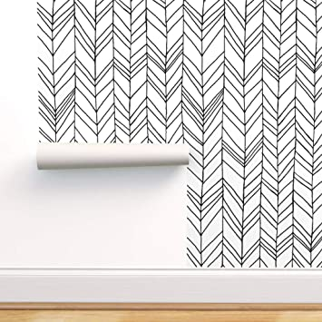 Spoonflower Peel And Stick Removable Wallpaper Feather Chevron Black White Modern Decor Herringbone Print Self Adhesive Wallpaper 12in X 24in Test Swatch Amazon Com