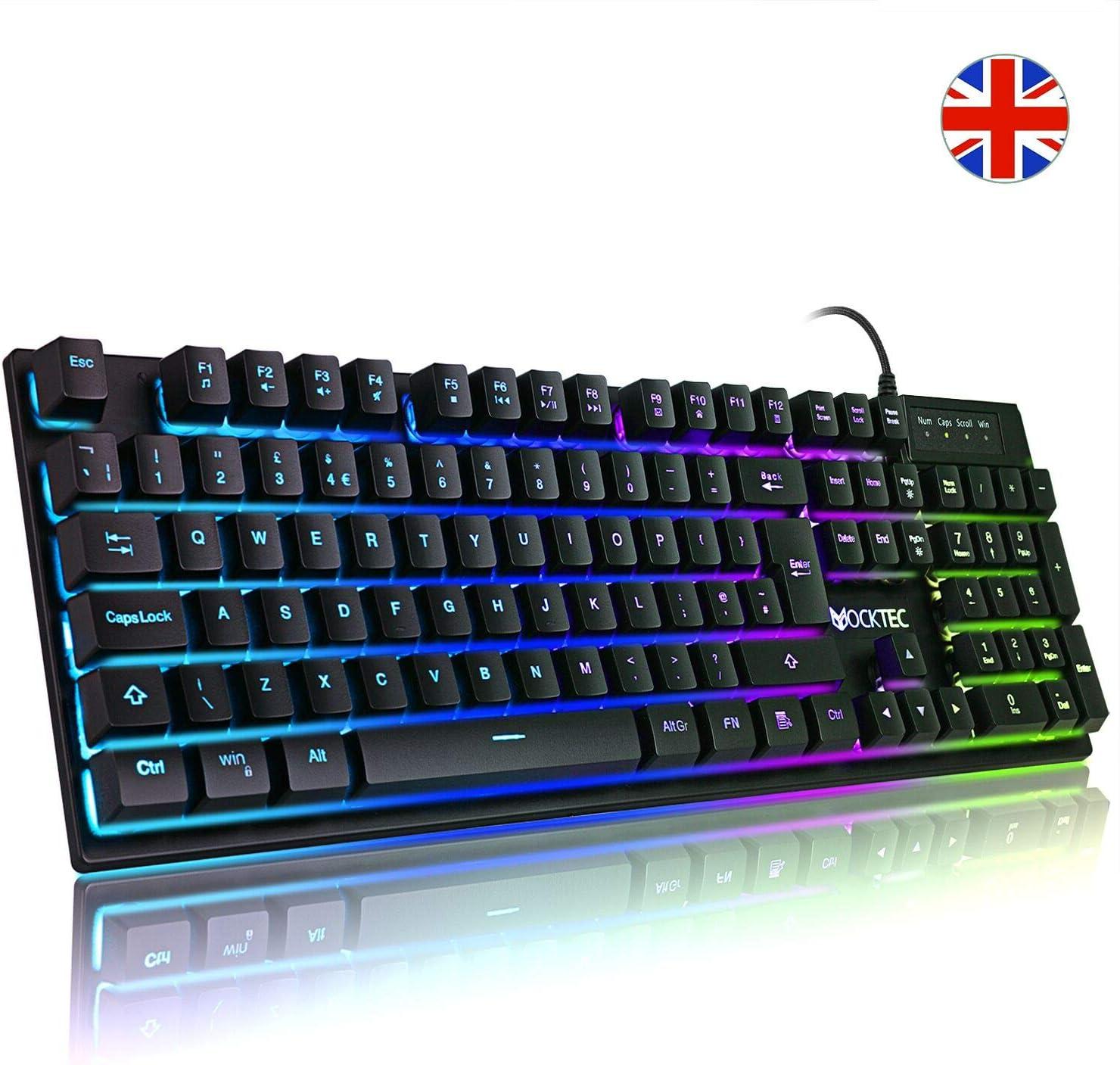 Luibor teclados para videojuegos, retroiluminación, mecánico, USB, con cable, antideslizante, fácil de conectar al ordenador portátil, PC, etc.