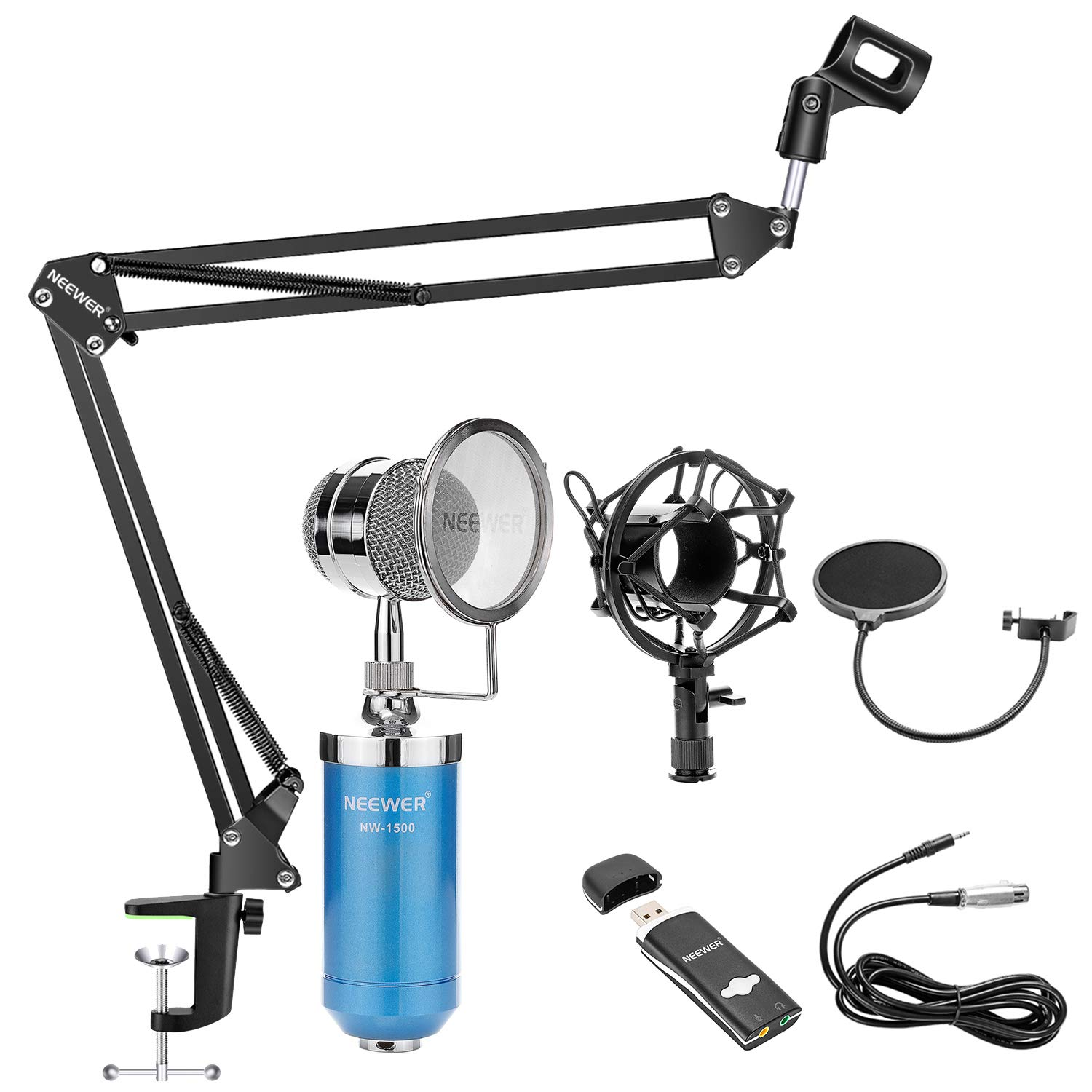 Neewer 5-in-1 Condenser Microphone and Accessory Kit: NW-1500 Desktop  Condenser Microphone (Blue), NW-35 Mic Suspension Boom Scissor Arm  Stand,NW(B-3)
