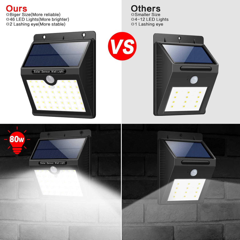 iPosible Luce Solare LED Esterno,【180/° Super Luminoso-4 Pezzi】 46 LED Lampada Solare Esterno Luci Solari con Sensore Movimento Impermeabile 3 modalit/à Luci Esterno Energia Solare per Giardino,Patio