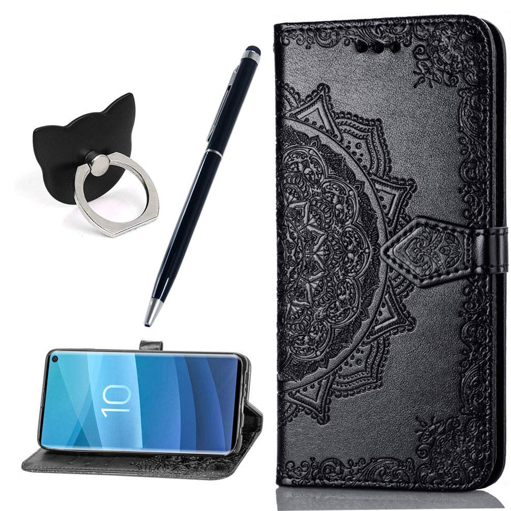 Samsung Galaxy S10 Case PU Leather Notebook Wallet Flip Case Stand Card Holder ID Slot TPU Bumper Folio Protective Skin Cover Mandala Embossed with Dust Plug /& Stylus for Galaxy S10 6.1 Grey