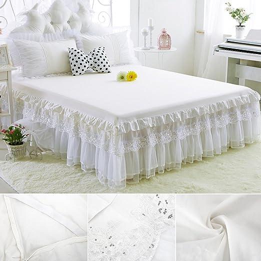 Sábana bajera con volante cama encaje falda cama individual 150 x ...