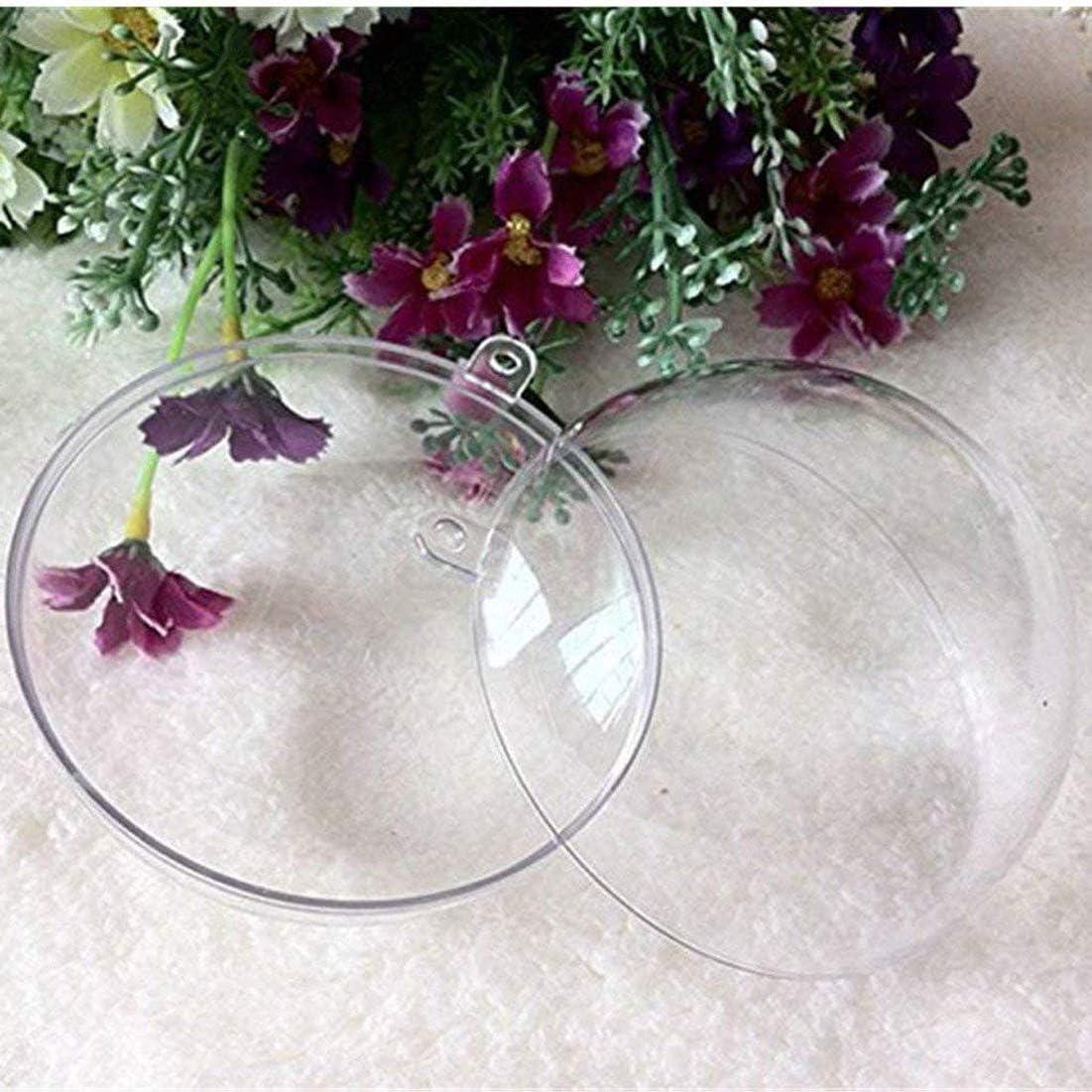 Yeelan Plastique Transparent Acrylique Remplissable Boule Transparente Boule Ornement Boule Sph/ère pour La F/ête De Mariage No/ël D/écor /À La Maison 50mm, Set de 24 Pcs