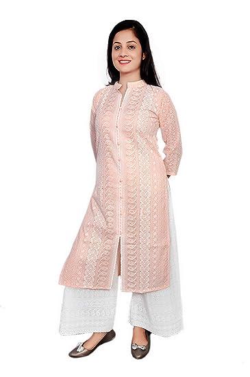 Peach Modal Cotton Kurta Palazzo Set Lucknow chikankari handmade kurti TOP