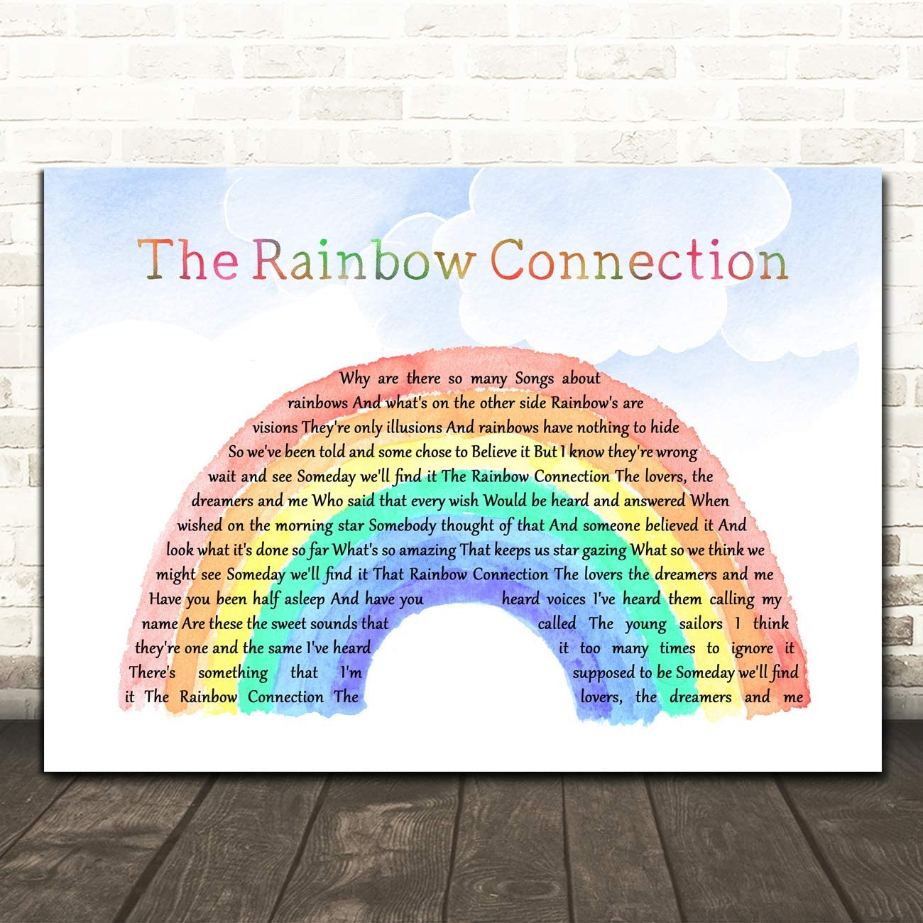 The Rainbow Connection Watercolour Rainbow & Clouds Song Lyric Quote Music Print
