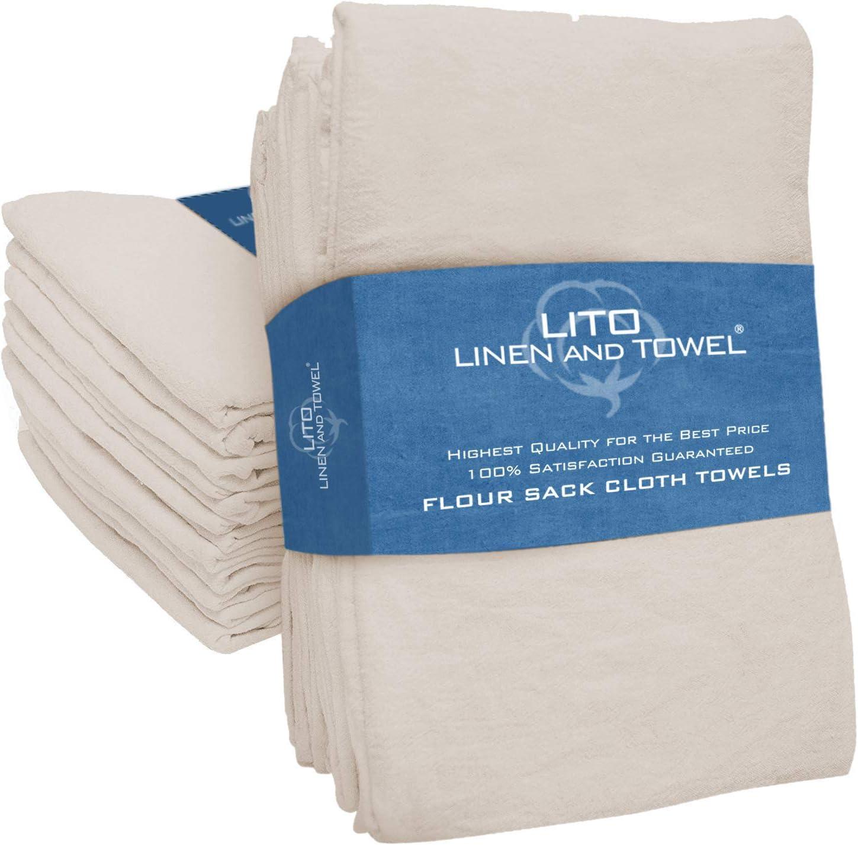 12 Pack 100/% Natural Linen absorbent Kitchen Cloths Hand Dish Towels Tea Towels