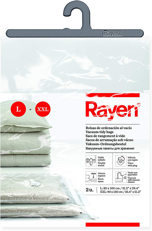 Bolsas al vac/ío para ropa Rayen Transparente Pack de 2 bolsas Fundas de almacenaje de ropa al vacio 80 x 100 cm y 90 x 130 cm