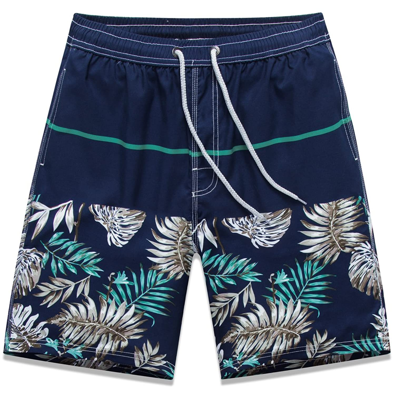ALiberSoul Men's Quick-drying Boardshorts Tropical Design Swimming Trunks