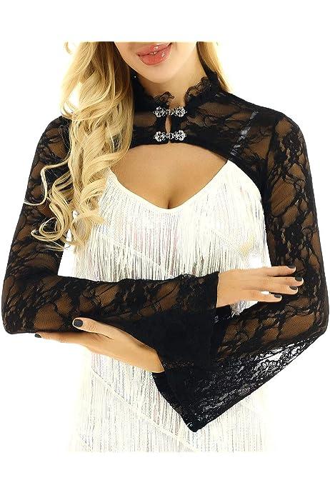 Ladies Black Lace Long Bell Sleeve Cropped Bolero Shrug Sizes 8-24