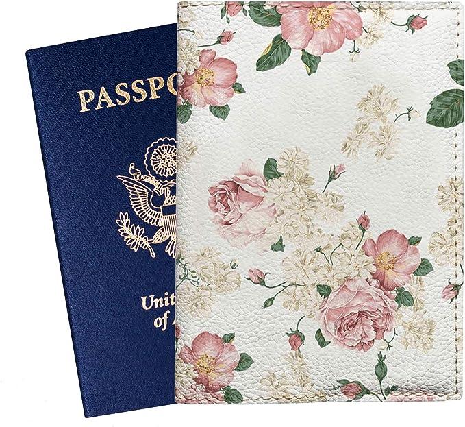 Jasmine Flowers White Leather Passport Holder Cover Case Travel One Pocket