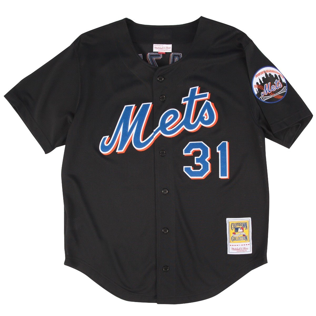 buy online b4ab4 2a391 Mitchell & Ness Mike Piazza Black New York Mets Authentic Throwback Jersey