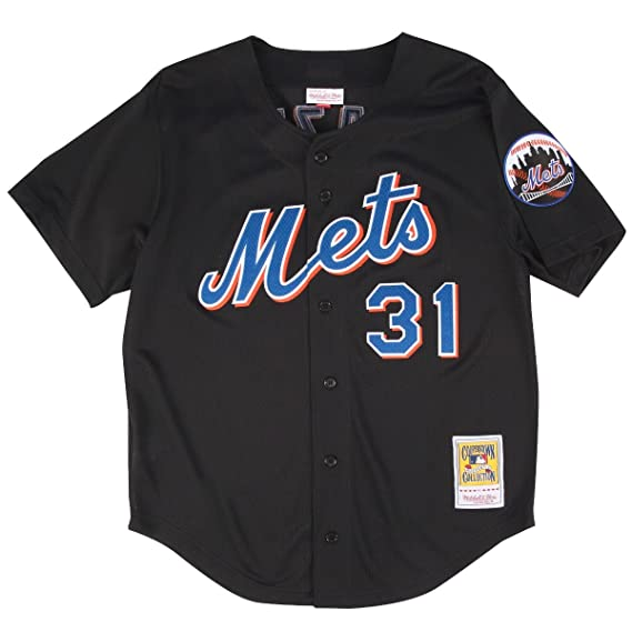 553f4fa4f Amazon.com   Mitchell   Ness Mike Piazza Black New York Mets Authentic  Throwback Jersey   Clothing