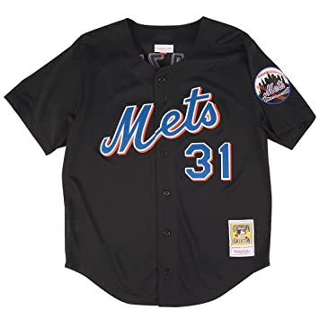 buy online ee589 008f4 Mitchell & Ness Mike Piazza Black New York Mets Authentic Throwback Jersey