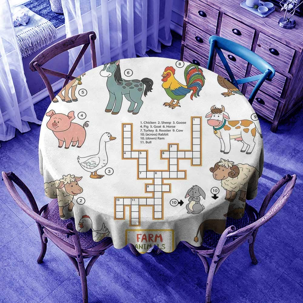 crabee Waterproof Tablecloth Rectangle Kids Game,Crossword Educational Puzzle for Children with Different Farm Animals and Numbers,Multicolor,Modern Washable Tablecovers by crabee (Image #1)