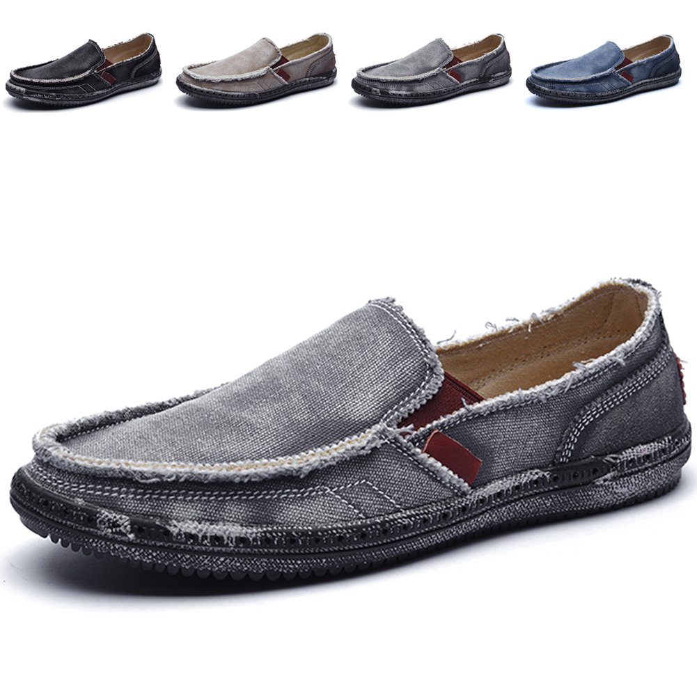 CASMAG Men's Casual Cloth Shoes Canvas Slip-on Loafers Outdoor Leisure Walking Shoes Grey 10.5M US