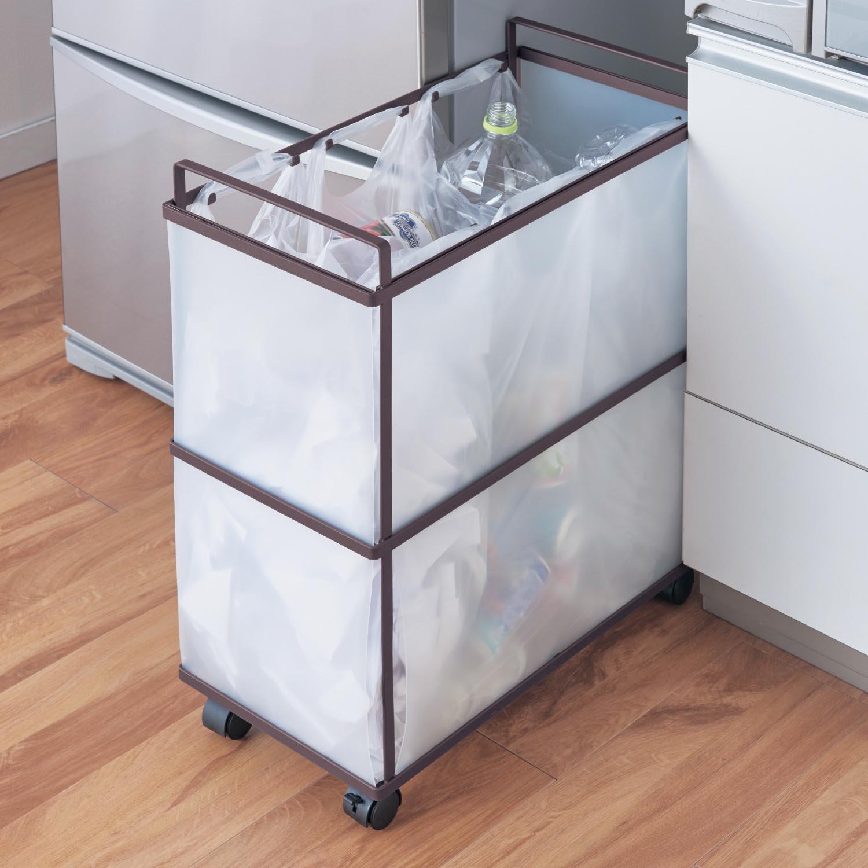 スッキリ設計のキャスター付き分別ゴミ箱 グレイッシュブラウン タイプ:3分別 B079SDJZ1Z