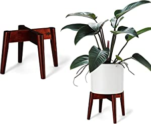 2 Pack Wood Plants Stand Flower Pot Holder & Garden Tool Sets - Indoor Mid Century Modern Plant Display Rack for 10 to 12 Inch Planter