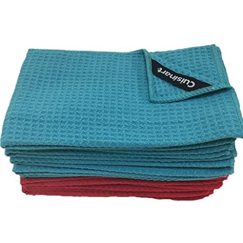 Cuisinart Microfiber Waffle Bar Mop Towels, 12 Pack, 16 X 19 Inches, Blue