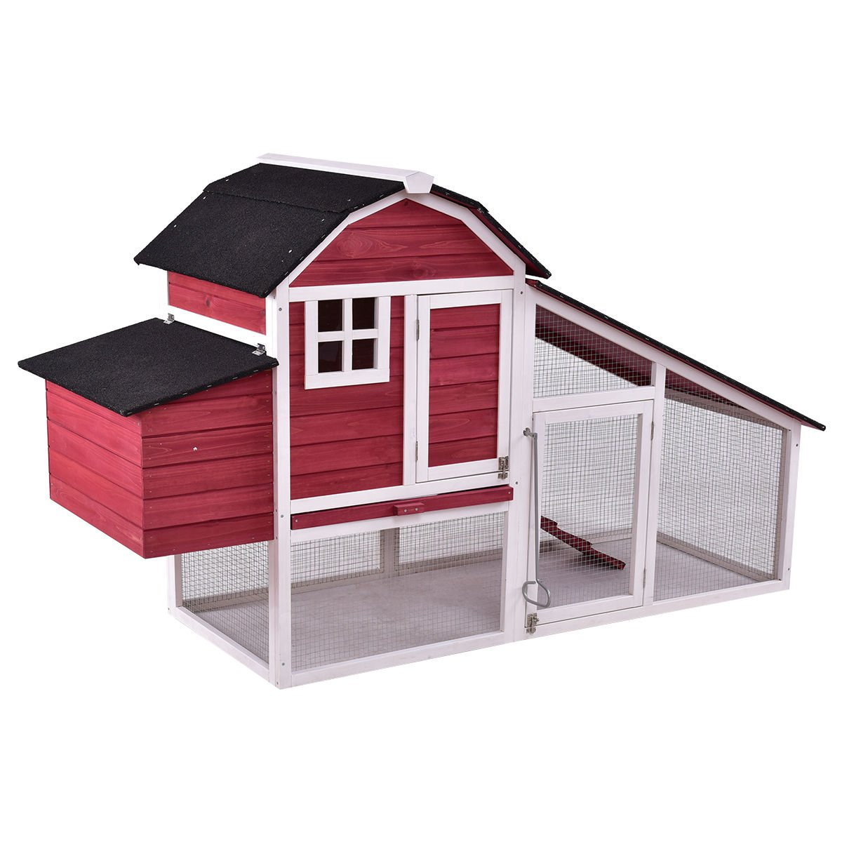 Tangkula Large Chicken Coop Wooden Outdoor Garden Backyard Bunny Rabbit Small Animal Hen Cage Rabbit Hutch with Run Nest (Size 76'')