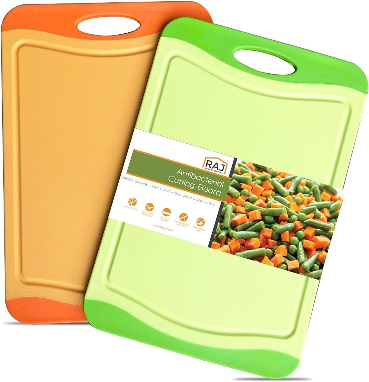 Raj Plastic Cutting Board Reversible Cutting board, Dishwasher Safe, Chopping Boards, Juice Groove, Large Handle, Non-Slip, BPA Free (17.4