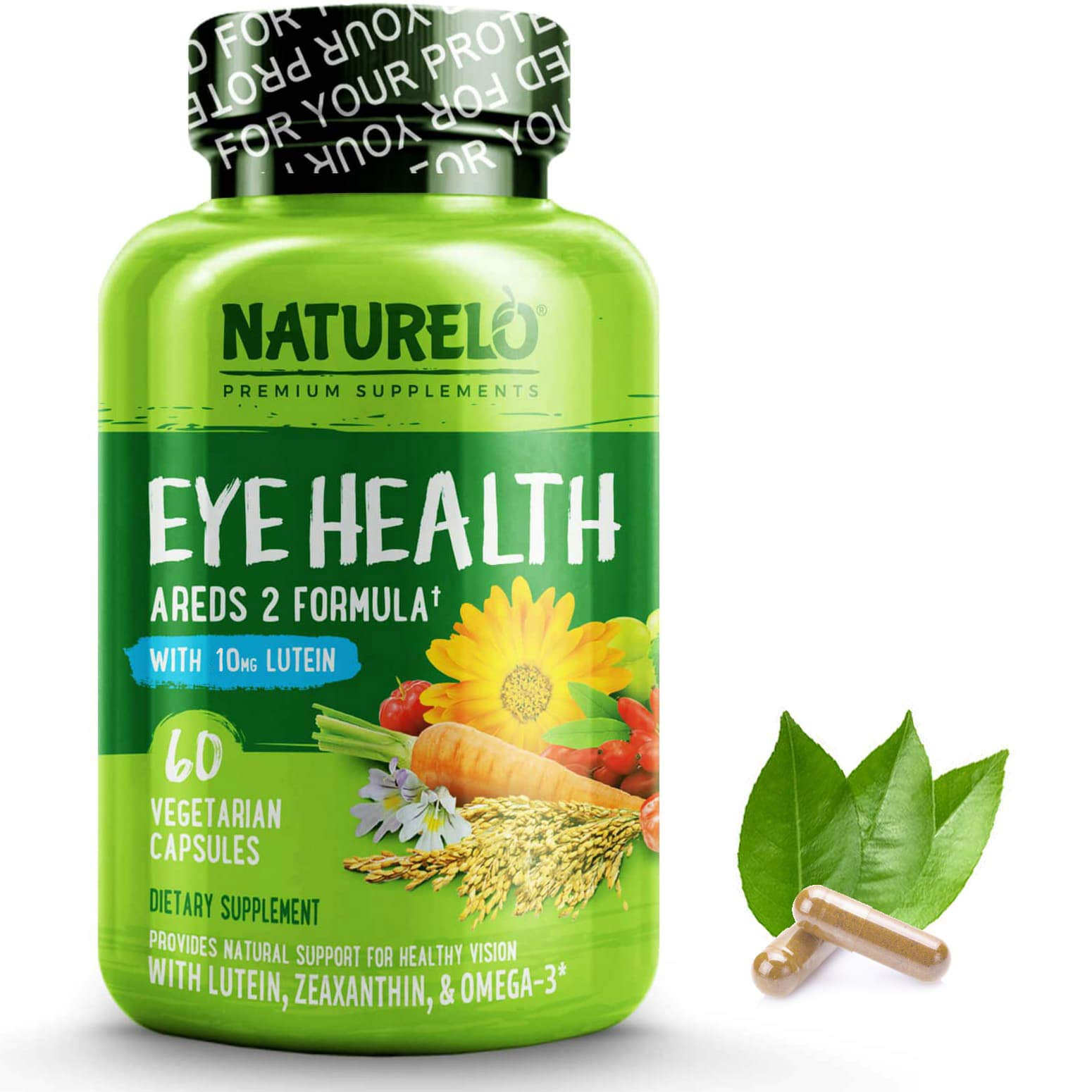 NATURELO Eye Vitamins - AREDS 2 Formula with Lutein, Zeaxanthin, Natural Vitamin C, Zinc - Best Supplement for Dry Eyes, Vision Preservation, Eye Health, Macular Support - 60 Vegan Capsules by NATURELO