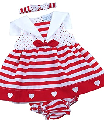 9d3ae2d011531 BabyPrem Baby 3 Piece Dress Knickers Headband Stripes Clothes 6-9 Months RED