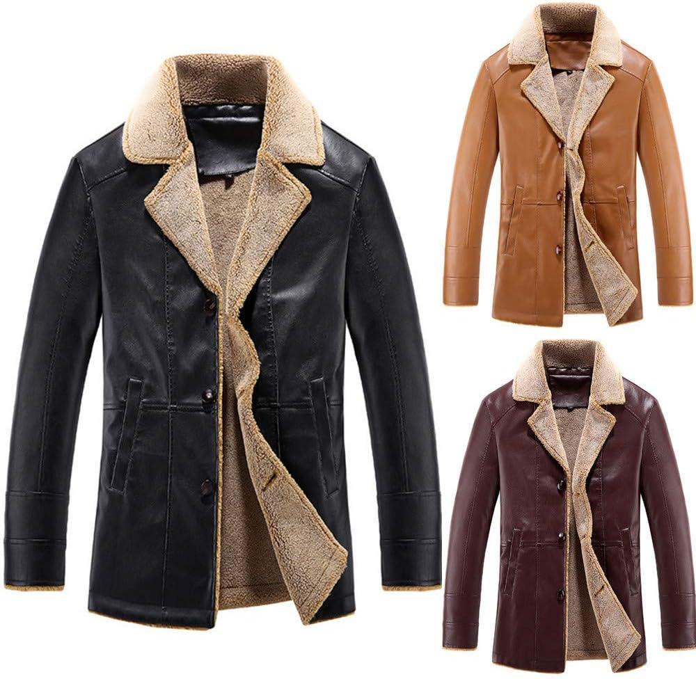 Ennglun Men Sweatshirts,Men Boys Warm Hooded Winter Coat Outwear,Coats PU Leather Men