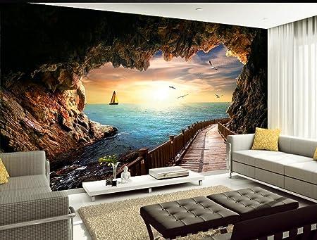 Xli You 3d Wallpaper Cave Seascape Beautiful Sunset Landscape 3d