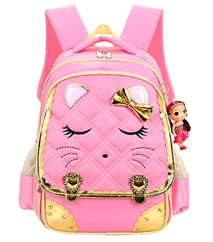 Cat Face Waterproof Kids Backpack School Bookbag for Primary Girls Students Pink
