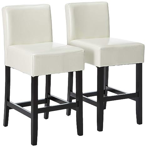Amazon.com: Gran taburete para muebles con espalda, Cuero ...
