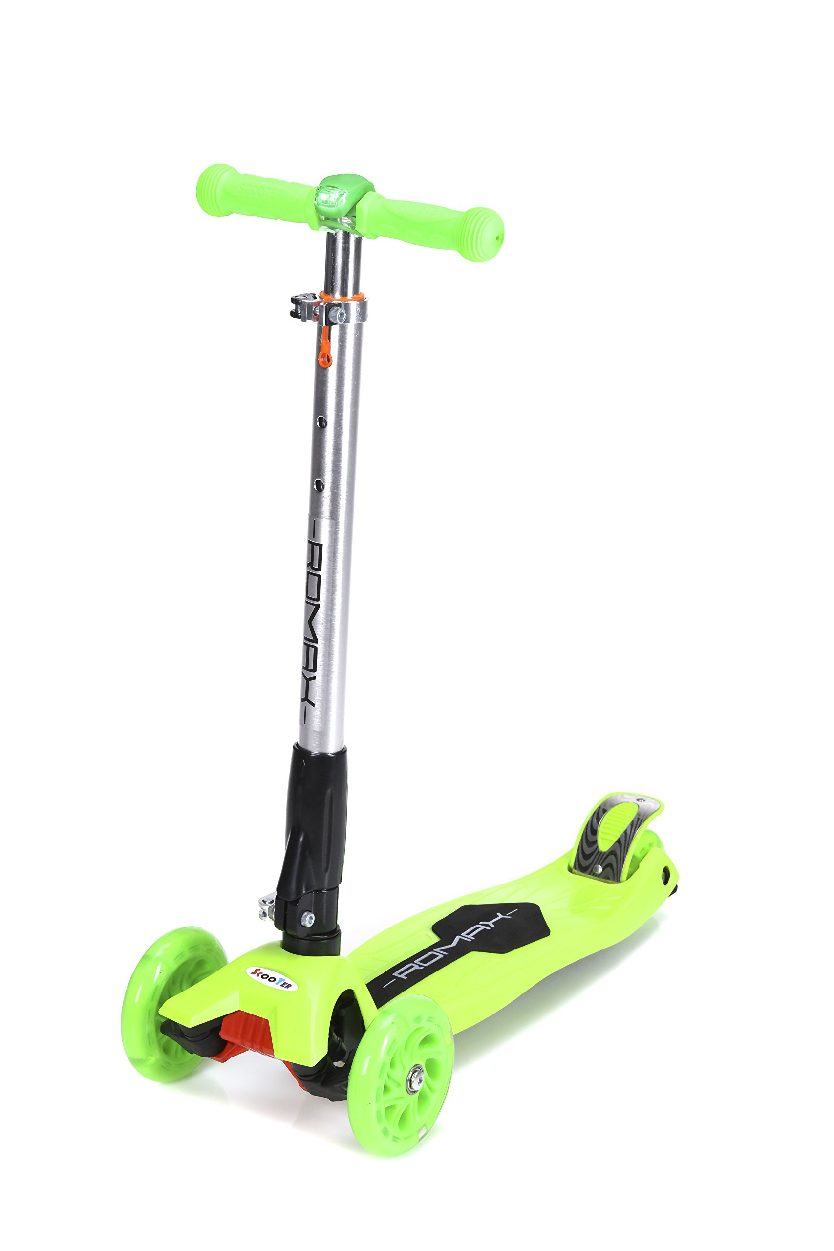 ROMAX Scooter for kids (Green), 3 wheels Kick Glider with Adjustable Height for Children, LED light in Front, Mini Scooter Non-Slippery Platform for Boys and Girls. Children Age 3-12 Years Old.