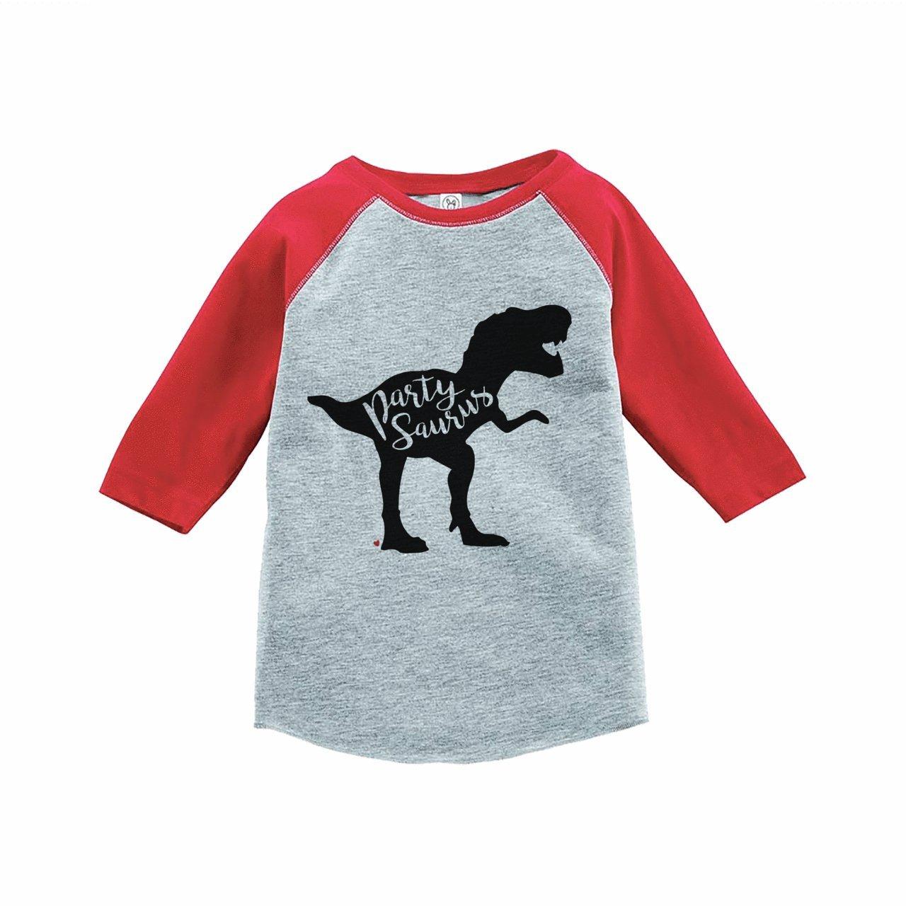 7 ate 9 Apparel Kids Partysaurus Dinosaur Birthday Red Raglan Tee