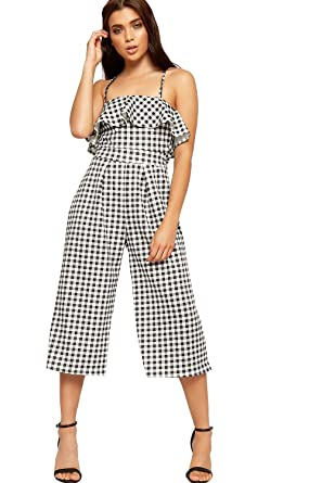 65a37b2178a WearAll Womens Palazzo Trousers Jumpsuit Ladies Gingham Check Print  Sleeveless Strappy - Black White - 16  Amazon.co.uk  Clothing