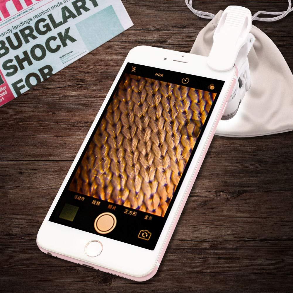 60x Clip Blanco luz Ultravioleta con Micro Lente con Clip para tel/éfonos m/óviles universales Abrazadera Universal para tel/éfono LED QiCheng/&LYS Lupa de microscopio con Zoom de 60x