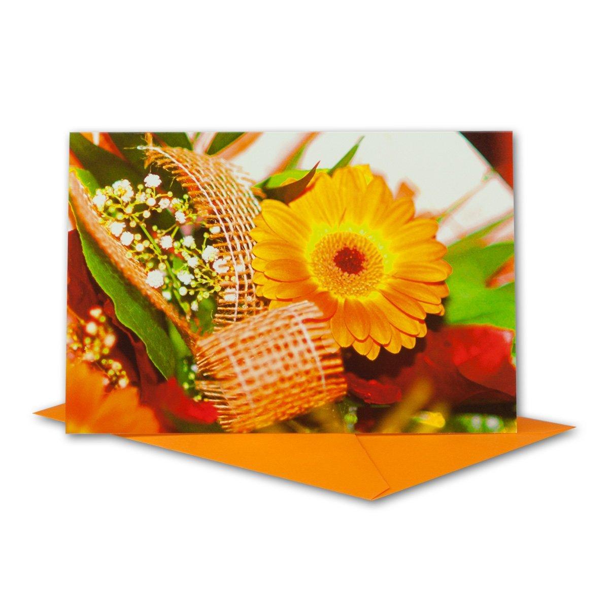 Glückwunschkarten Set I Orange Gerbera mit Schleife & & & Orange Umschlag I 80 Stück I B6 17 ,0 x 11,5 cm I klappbare Grußkarte für jeden Anlass I ob Geburt I Taufe I Kommunion oder Hochzeit - Geburtstagskarte B072HMNBCZ | Authentisch  4dedfa