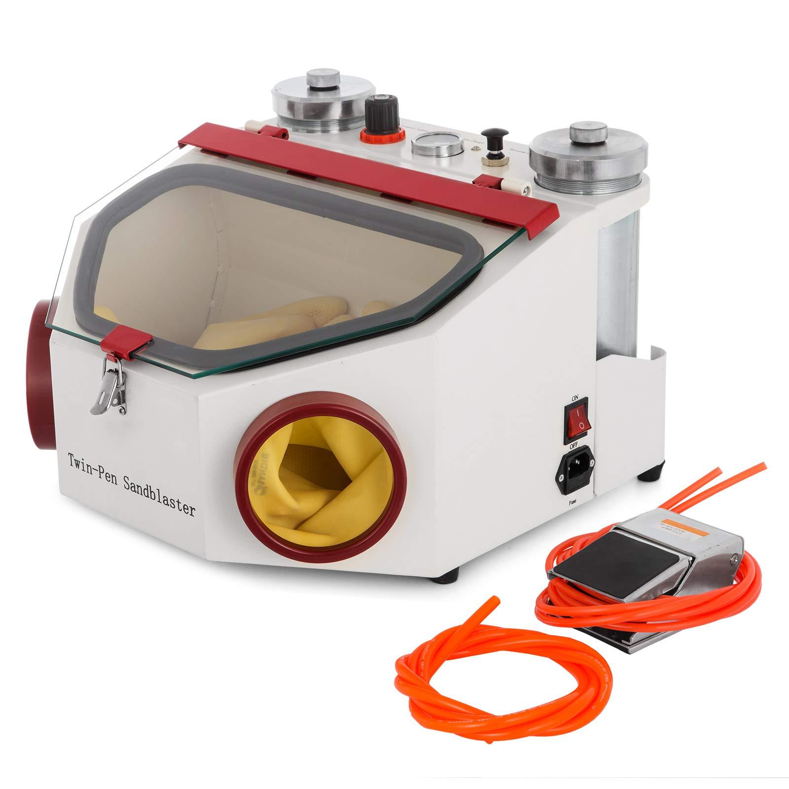 VEVOR Dental Sandblaster 2 Pen + 2 Tanks Dental Lab Sandblaster with LED Light and Large View Window Sandblaster Machine with Foot Pedal Control