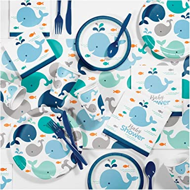 Creative Converting Blue Baby Whale Baby Shower Kit