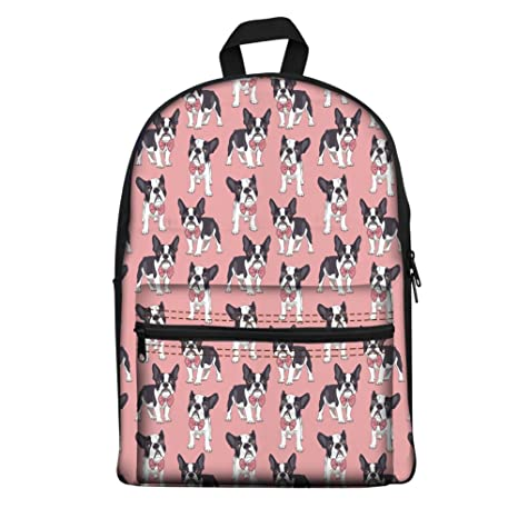 Amazon.com | Coloranimal Teens Girls Boys School Cotton Backpack Funny Classy Boston Terrier Schoolbag Mochilas Escolar Rucksack Shoulder Bags | Kids ...
