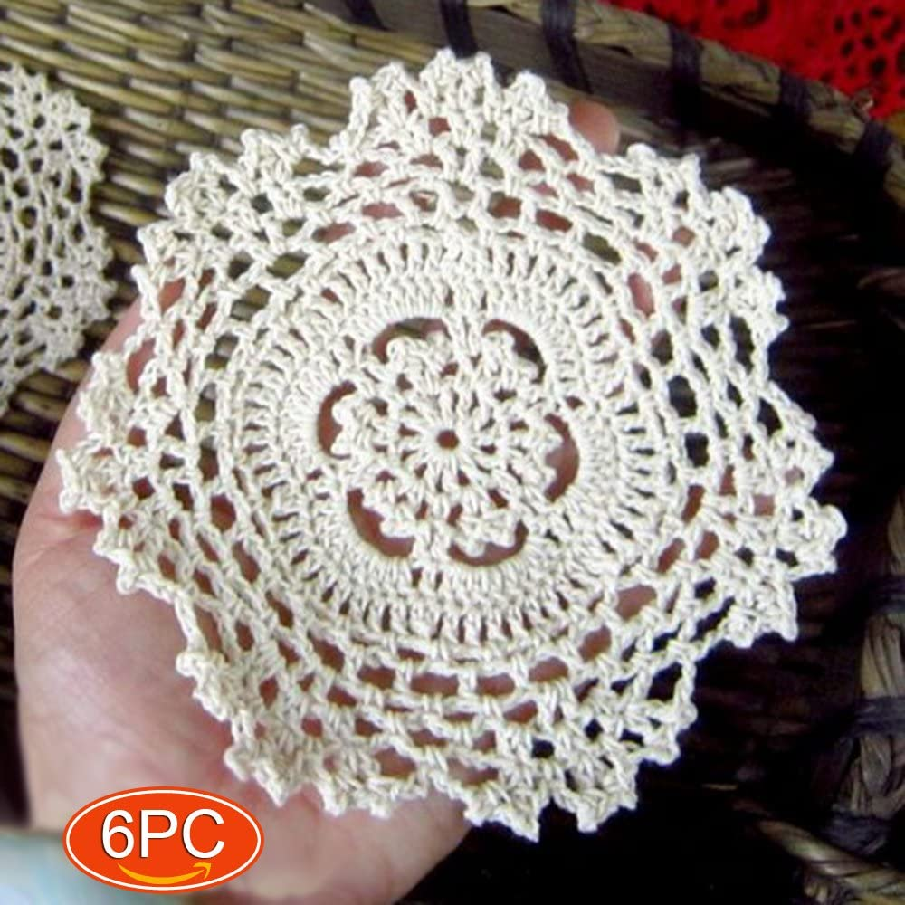 Elesa Miracle 5 Inch 6pc Handmade Small Round Crochet Cotton Lace Table Placemats Doilies for Cup/Glass Value Pack, Snowflake, Beige (5 Inch Beige)