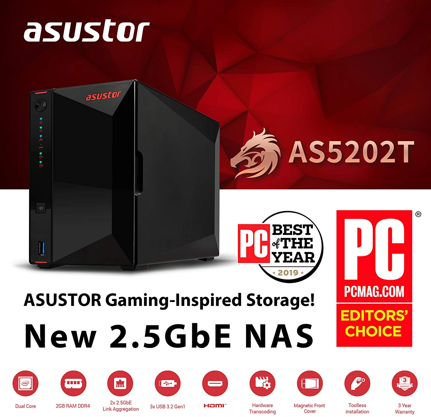 2 Bay Diskless NAS Intel J4005 2.0GHz Dual-Core Two 2.5GbE Port Personal Private Cloud 4GB eMMC Flash Memory 2GB RAM DDR4 Asustor Nimbustor 2 Gaming Inspired Network Attached Storage AS5202T