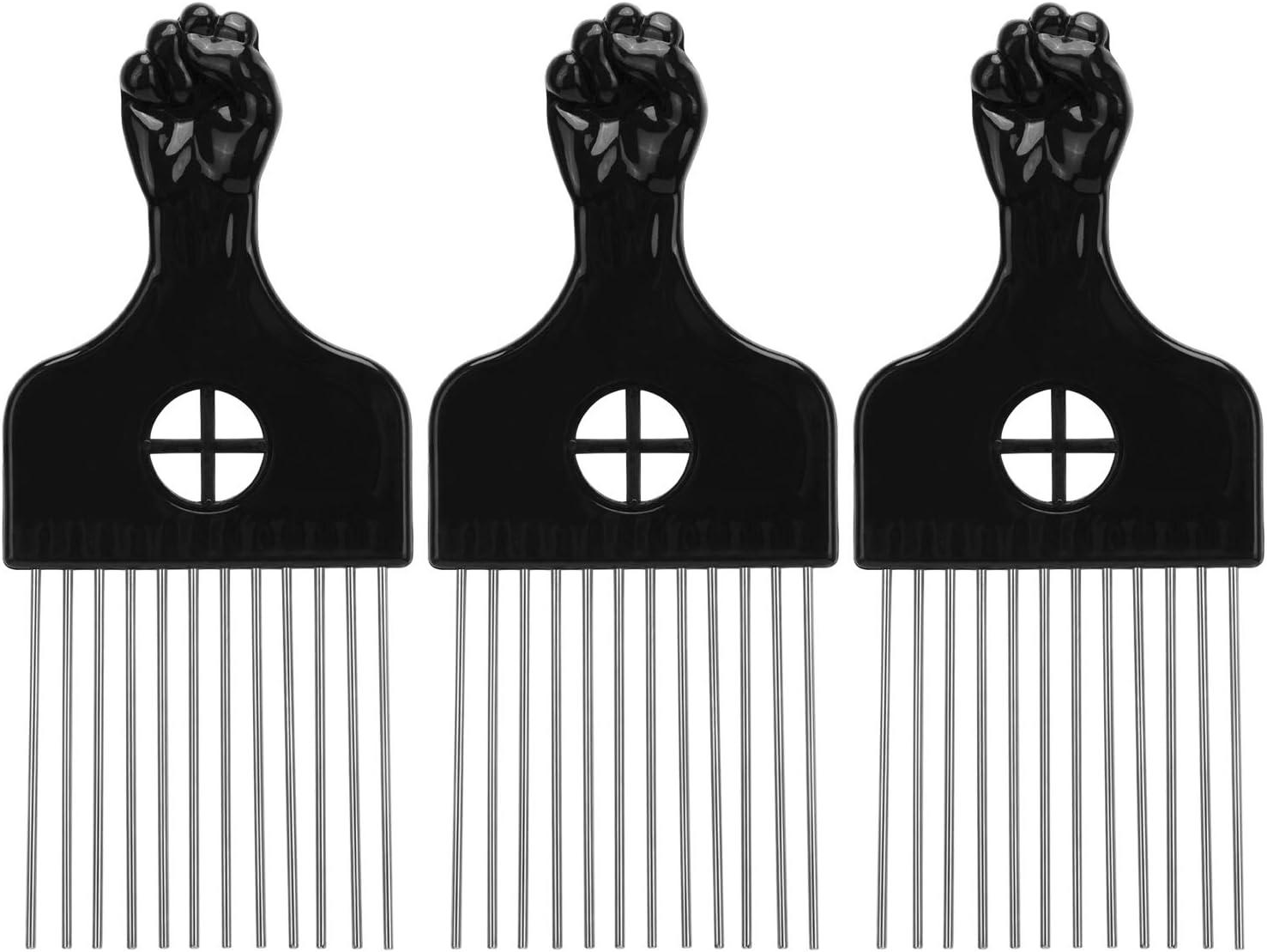 LUTER 3 Piezas Peine Afro Peine de Metal Desenredar Peluca Trenza Herramienta de Peinado Peines Metálicos para Mujeres y Hombres Negro