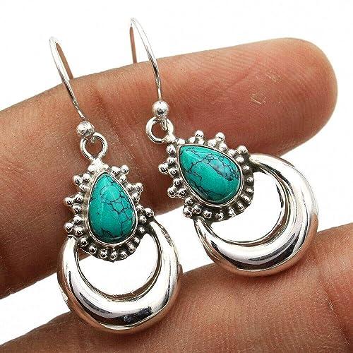 Handmade Solid 925 Sterling Silver Earrings for Women /& Girls Sterling Silver Turquoise Earrings Drop /& Dangle Earrings Bridesmaid Earrings