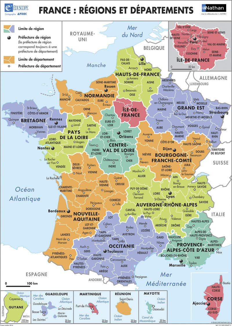 CARTE DES DEPARTEMENTS 2016