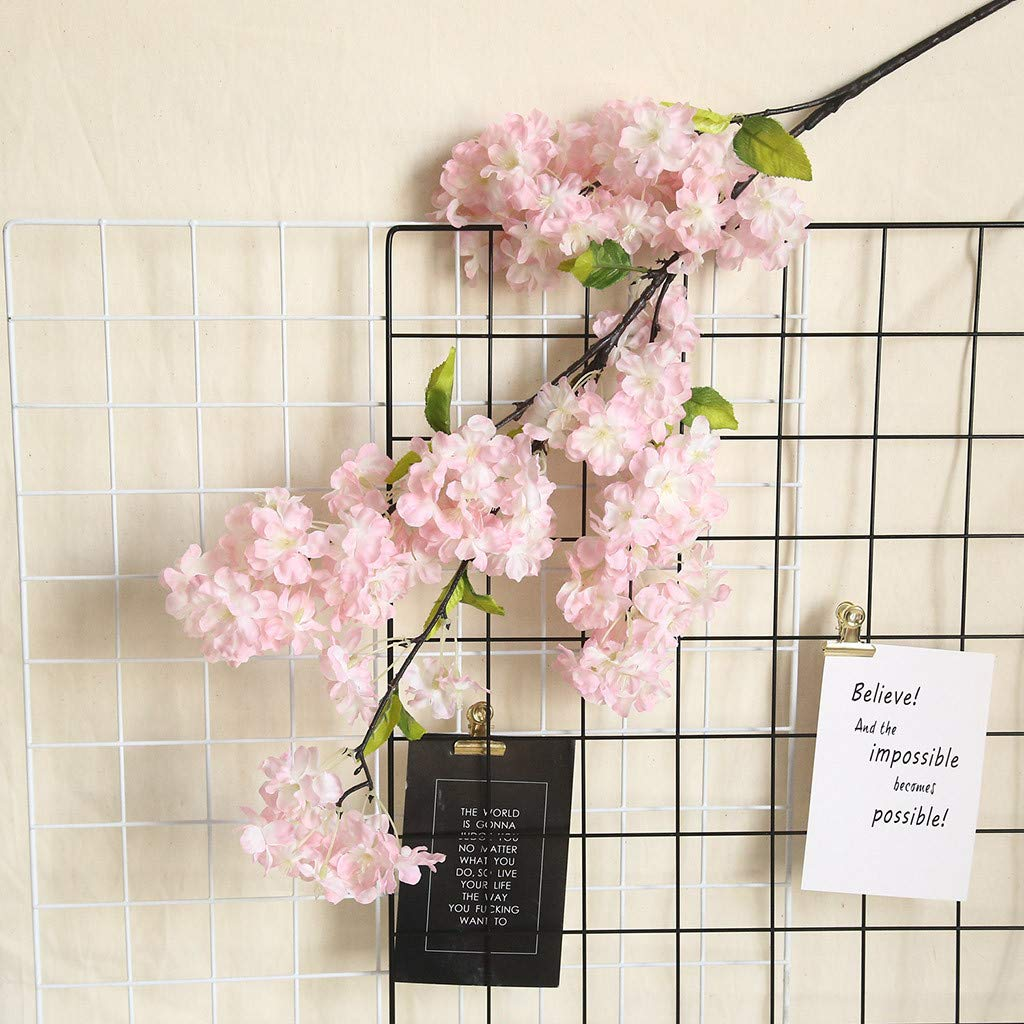 1 PC Dark Pink Ouniman Pretty Artificial Cherry Blossoms Flowers Real Looking Fake Floral with Leaf Stem Home Wedding Wall Decorations for Centerpieces Party Bedroom Living Room Office Table Decor